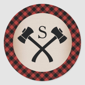Buffalo Plaid Monogrammed Axe Wedding Classic Round Sticker