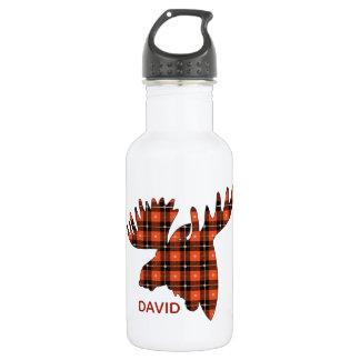 Buffalo Plaid Moose Head Silhouette Stainless Steel Water Bottle