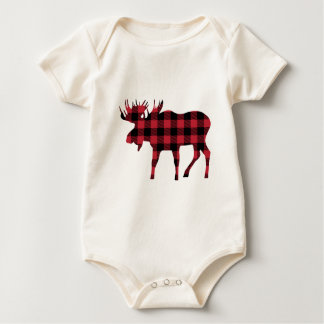 Buffalo Plaid Moose, Lumberjack Style, Red Black Baby Bodysuit