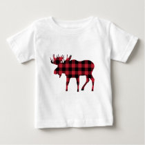 Buffalo Plaid Moose, Lumberjack Style, Red Black Baby T-Shirt