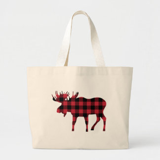 Buffalo Plaid Moose, Lumberjack Style, Red Black Large Tote Bag