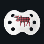 "Buffalo Plaid Moose, Lumberjack Style, Red Black Pacifier<br><div class=""desc"">This moose silhouette in red and black buffalo plaid exudes a woodsy,  lumberjack cachet.</div>"