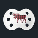 """Buffalo Plaid Moose, Lumberjack Style, Red Black Pacifier<br><div class=""""desc"""">This moose silhouette in red and black buffalo plaid exudes a woodsy,  lumberjack cachet.</div>"""