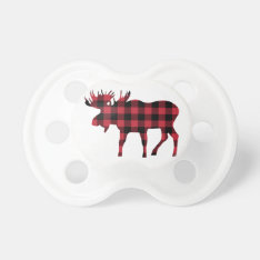 Buffalo Plaid Moose, Lumberjack Style, Red Black Pacifier at Zazzle