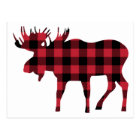 Buffalo Plaid Moose, Lumberjack Style, Red Black Postcard