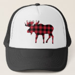 """Buffalo Plaid Moose, Lumberjack Style, Red Black Trucker Hat<br><div class=""""desc"""">This moose silhouette in red and black buffalo plaid exudes a woodsy,  lumberjack cachet.</div>"""