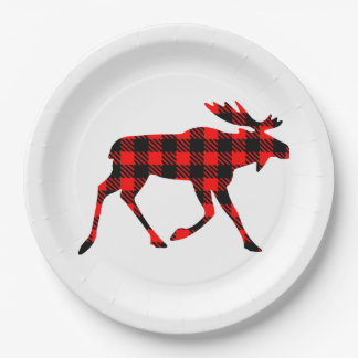 Buffalo Plaid Moose Your Background Color Paper Plate