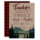 Buffalo Plaid Mountain Wedding Invitation
