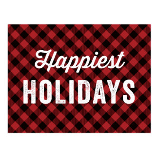 Buffalo Plaid Non-Photo | Holiday Postcard