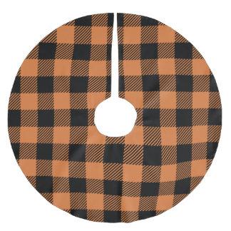 Buffalo Plaid - Orange & Black Brushed Polyester Tree Skirt