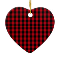 Buffalo Plaid Pattern in Red and Black Ceramic Ornament
