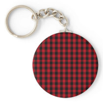 Buffalo Plaid Pattern in Red and Black Keychain