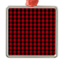 Buffalo Plaid Pattern in Red and Black Metal Ornament