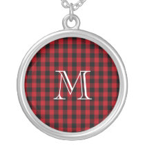 Buffalo Plaid Pattern in Red and Black Monogram Silver Plated Necklace