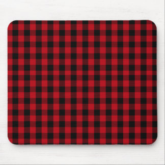 Buffalo Plaid Pattern in Red and Black Mouse Pad