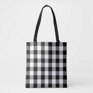 Buffalo Plaid Pattern Modern Black and White Tote Bag