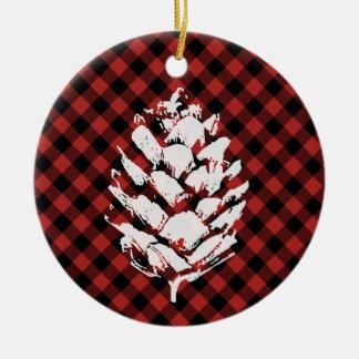 Buffalo Plaid Pinecone Ceramic Ornament