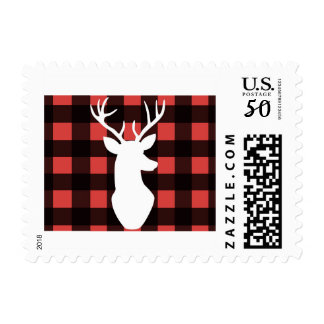 Buffalo plaid postage stamps with white stag