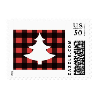 Buffalo plaid postage stamps with white tree