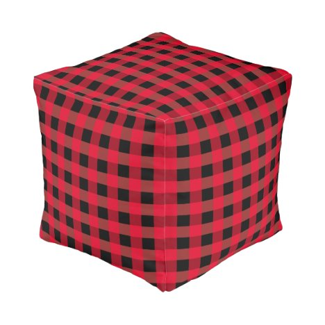 Buffalo plaid pouf