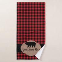 Buffalo Plaid Red and Black Cabin Bear Monogram Bath Towel Set