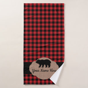 Buffalo Plaid Red And Black Cabin Bear Monogram Bath Towel Set
