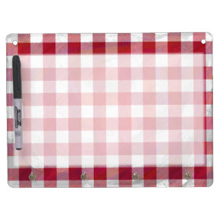 Buffalo Plaid Red and White Dry Erase Board With Keychain Holder