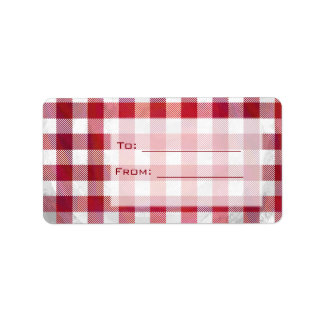 Buffalo Plaid Red and White Label