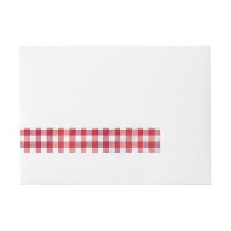 Buffalo Plaid Red and White Wrap Around Address Label