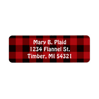 Buffalo Plaid Return Address Labels