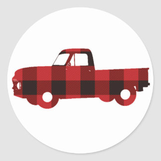 Buffalo Plaid Truck | Round Stickers