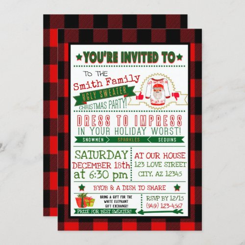 Buffalo Plaid Ugly Sweater Christmas Party Invite