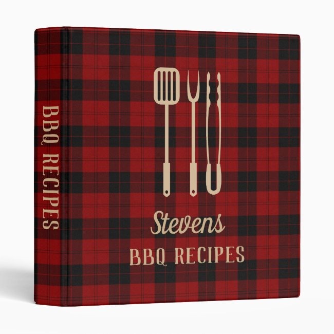 Buffalo Plaid & Utensils Family Barbecue Cookbook 3 Ring Binder