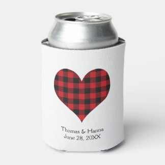 Buffalo Plaid Wedding Black Red Heart Can Cooler