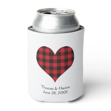 Valentines Themed Buffalo Plaid Wedding Black Red Heart Can Cooler