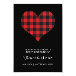 Buffalo Plaid Wedding Black Red Heart Card
