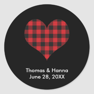 Buffalo Plaid Wedding Black Red Heart Classic Round Sticker