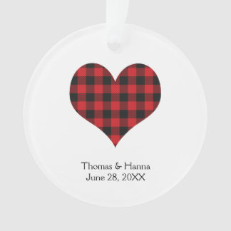 Buffalo Plaid Wedding Black Red Heart Ornament
