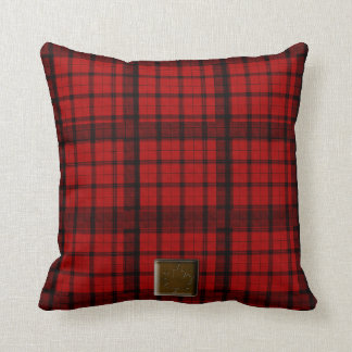 Buffalo Plaid with Maple Leaf Button American MoJo Throw Pillow