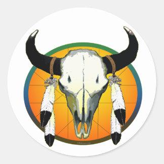 buffalo skull classic round sticker