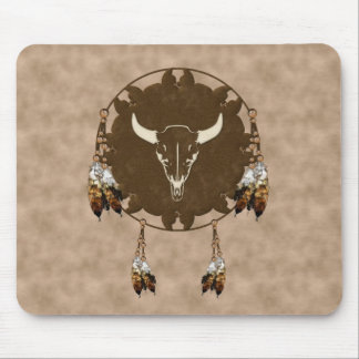 Buffalo Skull Dream Catcher Mouse Pad
