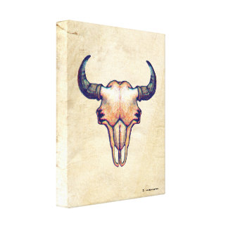 Buffalo Skull Faux Lighter Leather Canvas Print