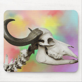 Buffalo Skull on a Watercolor Background Mouse Pad