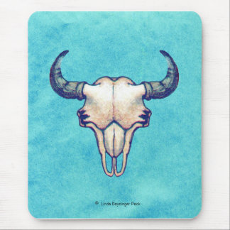 Buffalo Skull on Bright Turquoise Mouse Pad