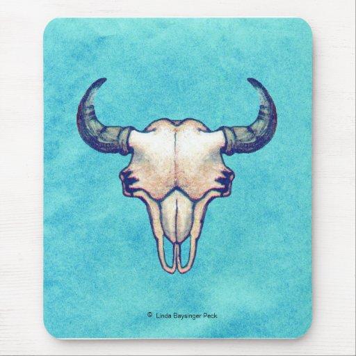 Buffalo Skull on Turquoise Mouse Pad