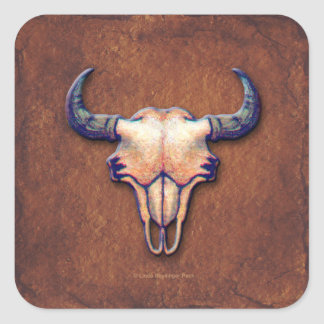 Buffalo Skull Painting on Brown Square Sticker