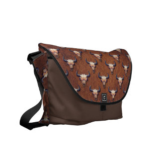 Buffalo Skull Painting With Brown Background Courier Bag