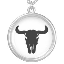 Buffalo skull silver plated necklace