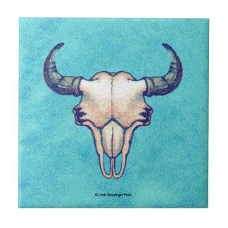 Buffalo Skull Turquoise Faux Parchment Ceramic Tile