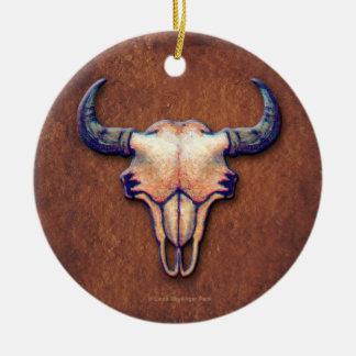 Buffalo Skull Watercolor Painting Ceramic Ornament